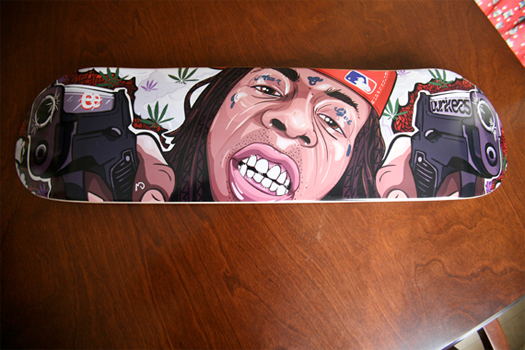 custom made Weezy skateboard