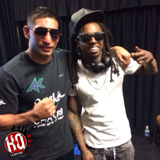Lil Wayne Meets & Chops It Up With Professional Boxer Amir Khan Backstage
