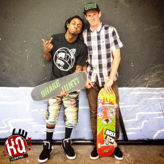 Lil Wayne Stops By TransWorld Skatepark In California For A Skating Session