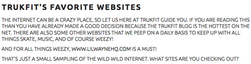 TRUKFIT Favorite Website Is LilWayneHQ