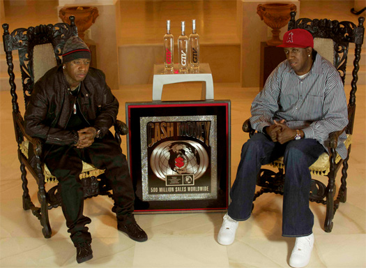 Cash Money Records Birdman & Slim With Their 500 Million Songs Sold Plaque