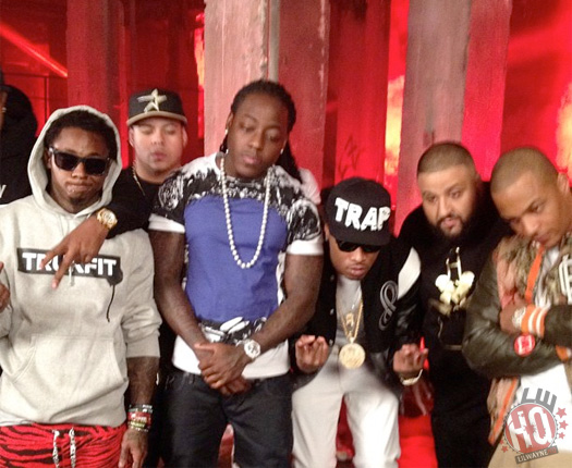 On Set Of DJ Khaled, Lil Wayne, Future, T.I. & Ace Hoods Models & Bottles Video Shoot