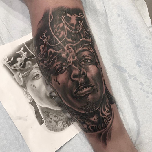 Duke Riley Tattoos A Portrait Of Lil Wayne On His Leg