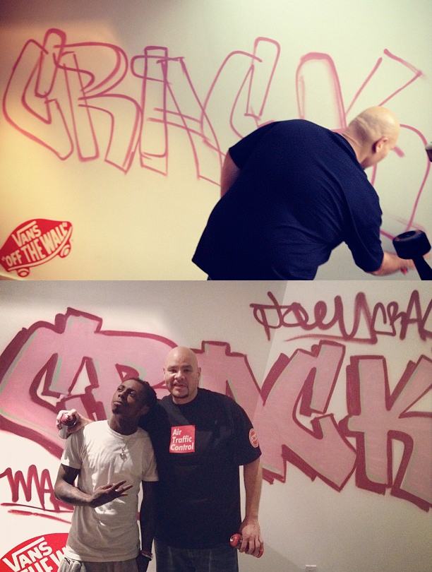 Lil Wayne let Fat Joe spray paint a wall in his Miami mansion