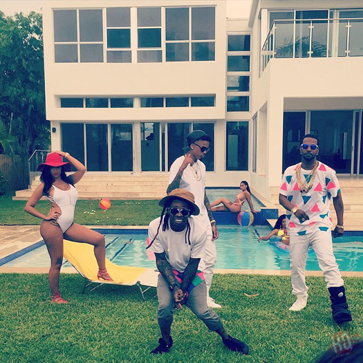 On Set Of Juicy J, Lil Wayne & August Alsina Miss Mary Mack Video Shoot In Miami