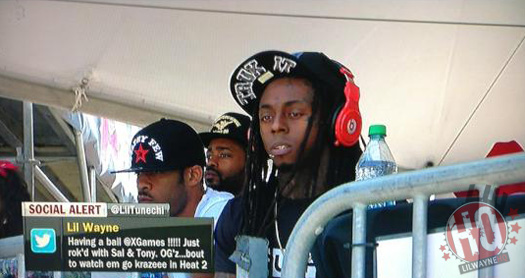 Lil Wayne Watches 2012 X Games With David Beckham & Tony Hawk