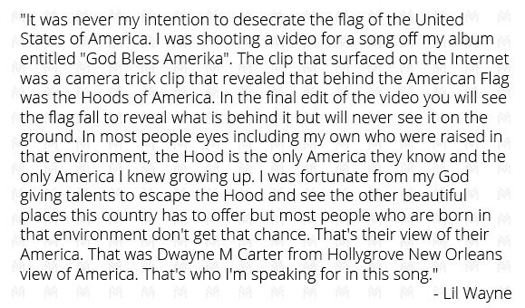 Lil Wayne Addresses Stepping On The Flag Of The United States Of America