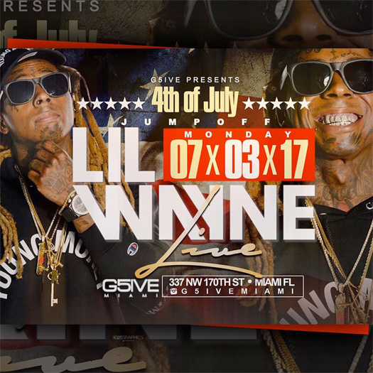 Lil Wayne To Make An Appearance At G5ive Miami Strip Club For Independence Day