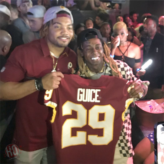Lil Wayne Attends His 2018 NFL Draft Party With Kisha Jackson, Greets His Clients Derrius Guice & Dede Westbrook