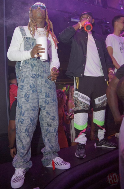 Lil Wayne Attends Ashanti Birthday Bash At LIV In Miami