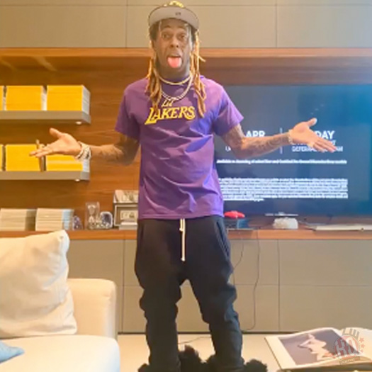 Lil Wayne Attends The Los Angeles Lakers vs Oklahoma City Thunder NBA Game Virtually