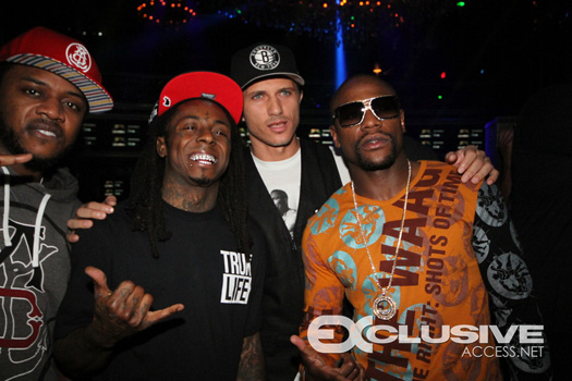 Lil Wayne Attends Bamboo Nightclub In Miami With Floyd Mayweather & Mack Maine