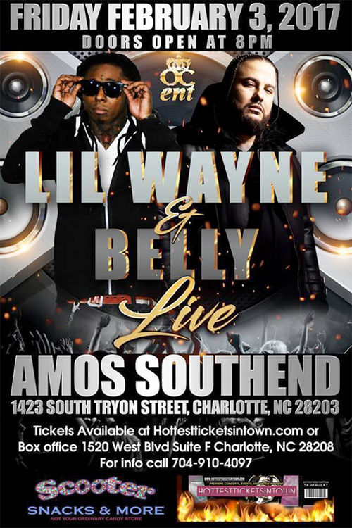 Lil Wayne & Belly To Perform Live At Amos Southend In North Carolina