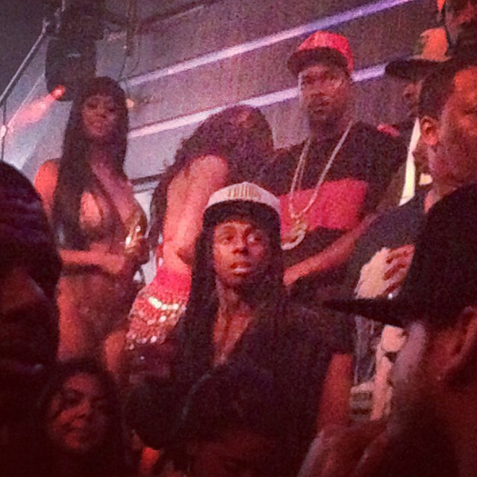 Lil Wayne Attends His Birthday Bash Wearing A Robe At LIV Nightclub In Miami