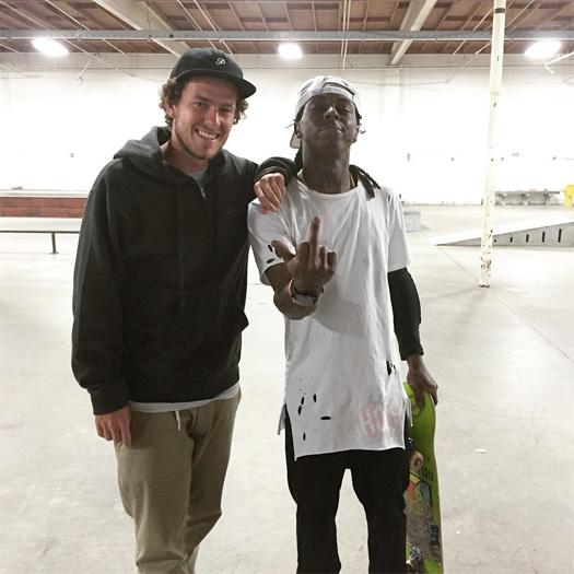 Lil Wayne Hits Up Brandon Biebel Private Skatepark In California