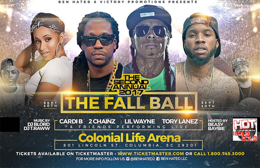Lil Wayne, Cardi B, 2 Chainz & Tory Lanez To Headline The 2017 Fall Ball Concert In Columbia