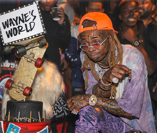 Lil Wayne Celebrates His 36th Birthday & Tha Carter V Album With A Goat, Stevie Wonder, Chris Brown, Ashanti, Trippie Redd, Wiz Khalifa & More