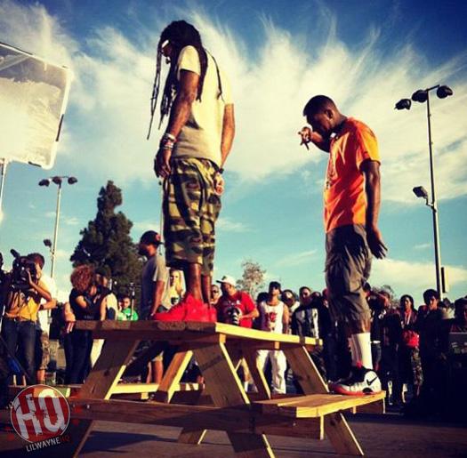 Lil Wayne On Set Of Games Celebration Video In Miami