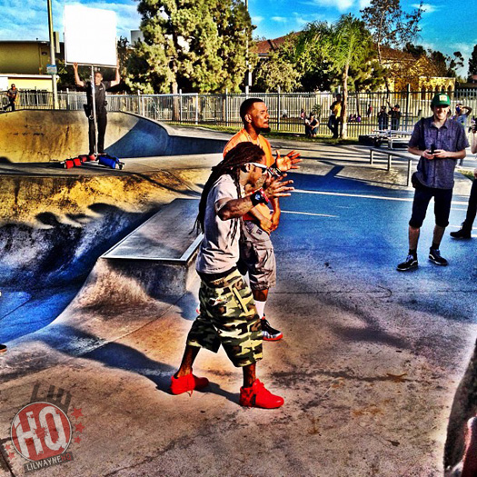 Lil Wayne On Set Of Games Celebration Video At Belvedere Skatepark