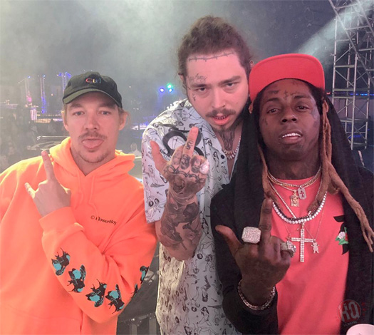 Lil Wayne Chills With Diplo & Post Malone At Coachella, Performs Live