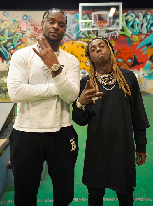 Lil Wayne Chops It Up With NFL Player LeVeon Bell At His Private Skate Park & Studio