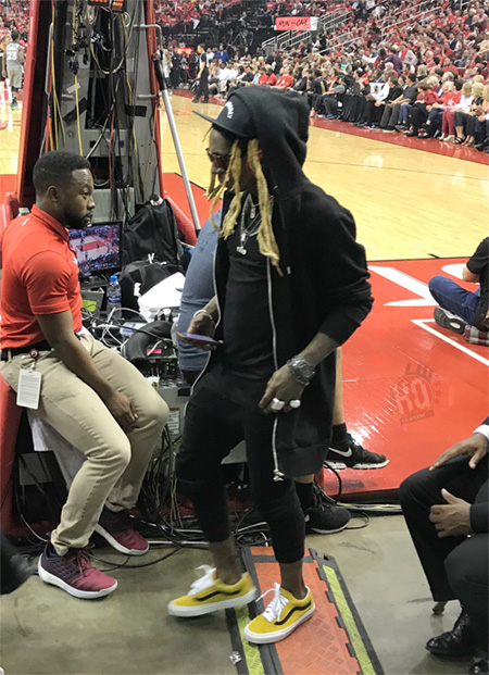 Lil Wayne Sits Court-Side At The Houston Rockets vs. Minnesota Timberwolves NBA Game