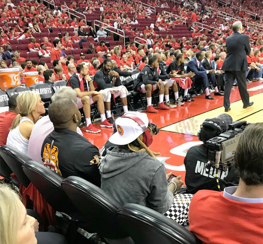 Lil Wayne Sits Court-Side At The Houston Rockets vs Utah Jazz NBA Game
