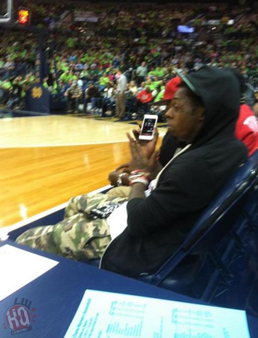 Lil Wayne Sits Courtside At Notre Dame vs Baylor Womens Basketball Game