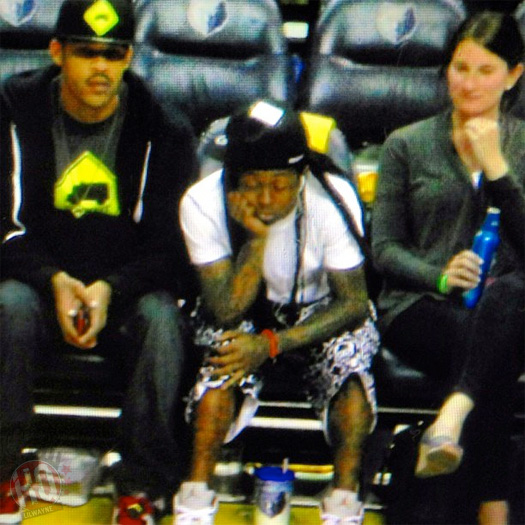 Lil Wayne Sits Courtside At Oklahoma City Thunder vs Memphis Grizzlies NBA Game
