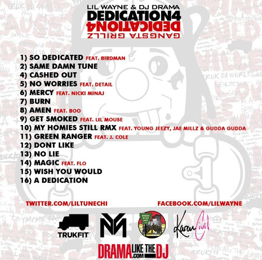 Official Tracklist For Lil Waynes Dediction 4 Mixtape