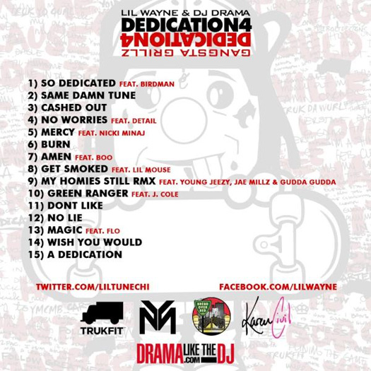 Lil Wayne Dedication 4 Mixtape Back Cover