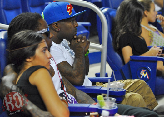Lil Wayne Watches Marlins vs Giants Game With Dhea