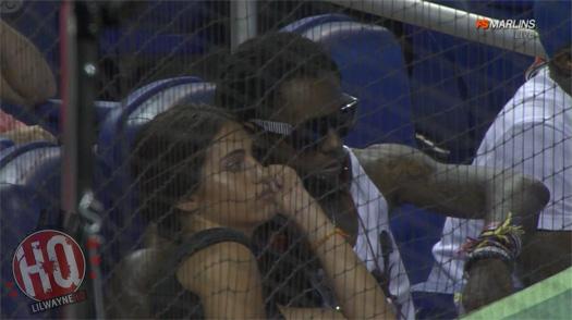 Lil Wayne Relógios Marlins vs Giants Jogo com DHEA