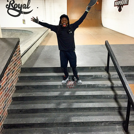 Watch Lil Wayne Bust Out A Frontside 180 Down A 7 Stair On His Skateboard