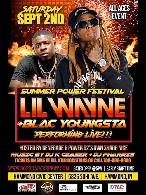 Lil Wayne To Headline The 2017 Summer Power Festival In Indiana With Blac Youngsta