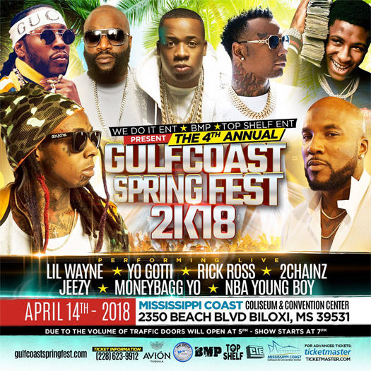 Lil Wayne To Headline The 2018 Gulf Coast Spring Fest In Mississippi With Rick Ross, Jeezy, Yo Gotti & More