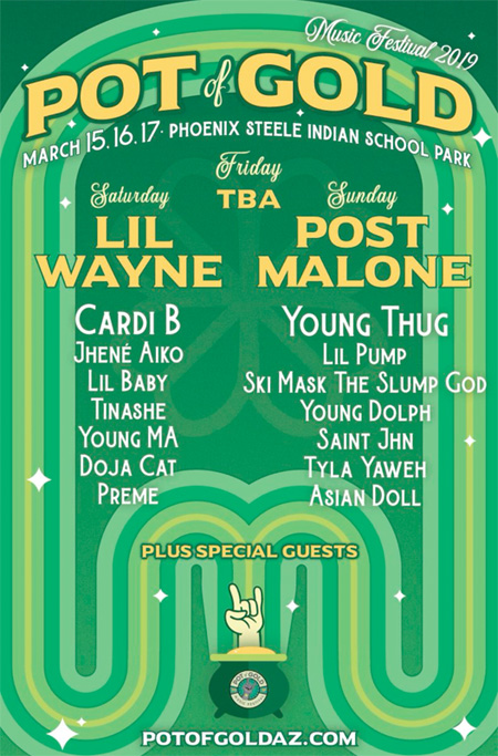 Lil Wayne To Headline The 2019 Pot Of Gold Music Festival With Cardi B, Lil Baby & More