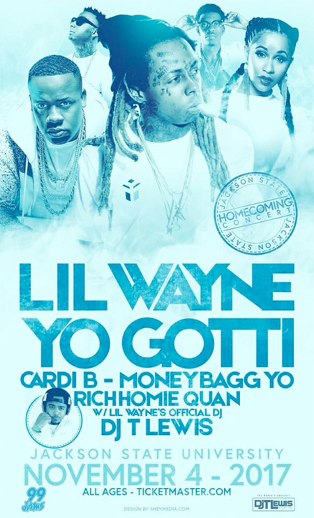 Lil Wayne To Headline JSU 2017 Homecoming Concert In Jackson, Mississippi With Cardi B, Yo Gotti & More