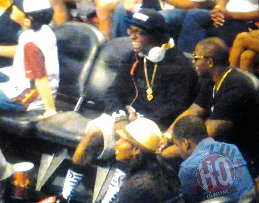 Lil Wayne Sat Courtside Com Chris Brown Em Miami Heat vs Orlando Magic Jogo