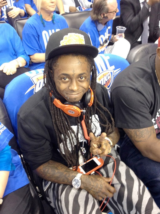 Lil Wayne Watches Game 1 Of The NBA Finals