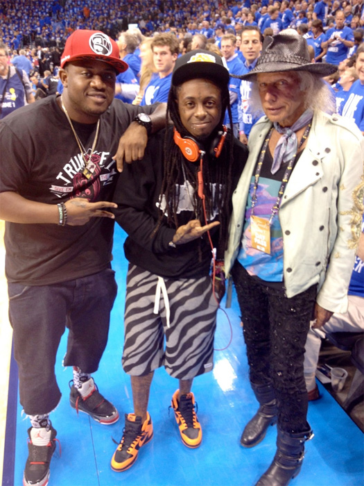 Lil Wayne Watches Game 1 Of The NBA Finals x Angry At OKC Thunder [Pictures]