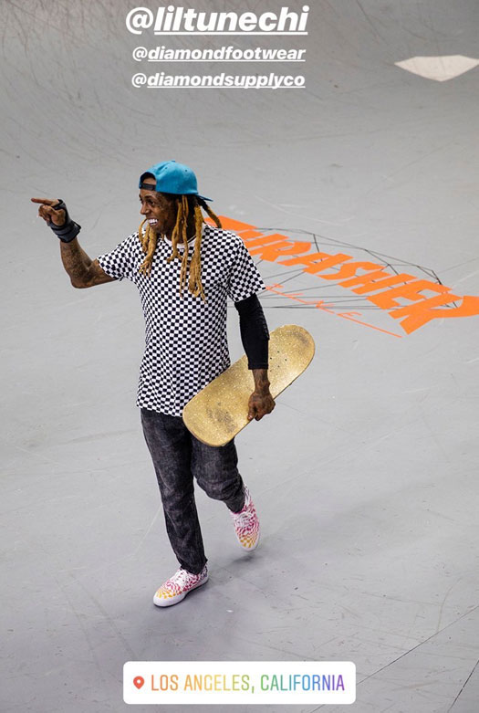 Lil Wayne Hits Up The Diamond Supply Co Indoor Skate Park In Los Angeles