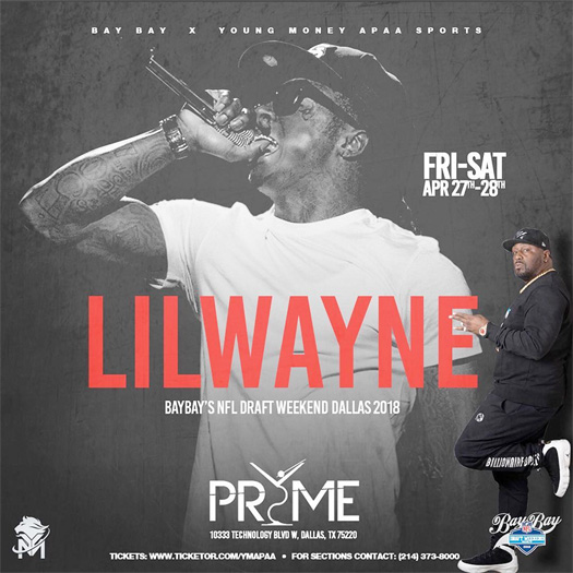 Lil Wayne To Host A 2018 NFL Draft Weekend Party At Pryme Bar