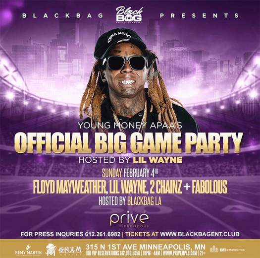 Lil Wayne To Host A Big Game Party At Prive In Minneapolis With Floyd Mayweather, 2 Chainz & Fabolous