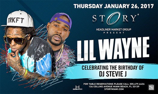 Lil Wayne To Host A Birthday Bash For DJ Stevie J At STORY Nightclub In Miami