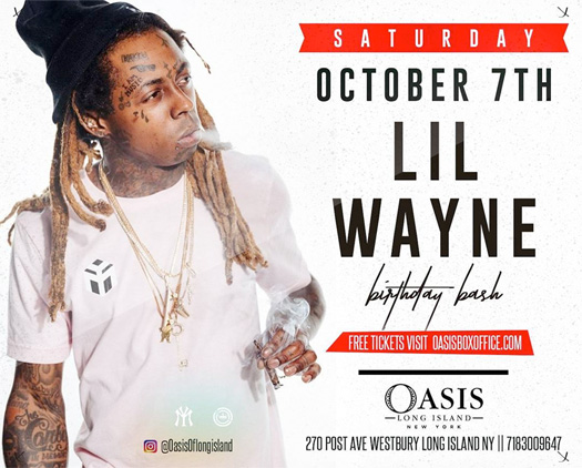 Lil Wayne To Host A Birthday Bash At Oasis Long Island Nightclub In New York