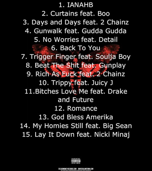 Tracklist de Lil Wayne I Am Not A Human Being 2 Album