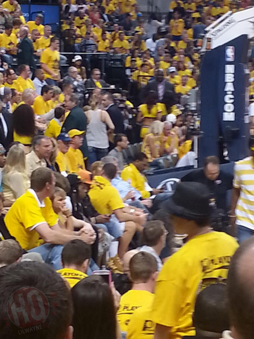 Lil Wayne Attends Indiana Pacers vs Miami Heat Game In Indianapolis