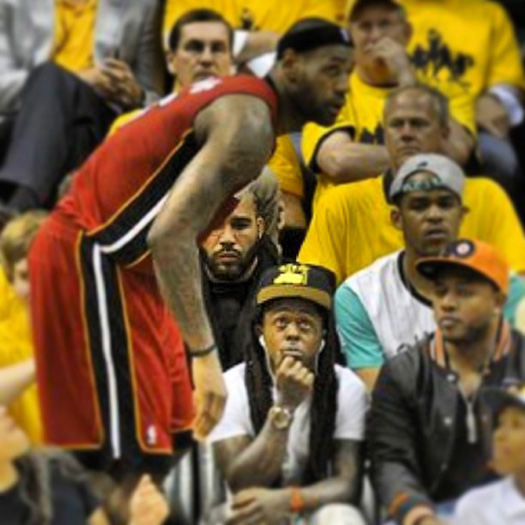 Lil Wayne Attends Indiana Pacers vs. Miami Heat Game In ...