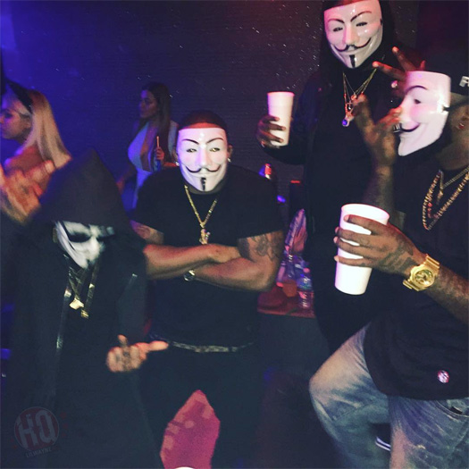 Lil Wayne Attends IVY Nightclub In Miami For Halloween, Wears A Guy Fawkes Mask